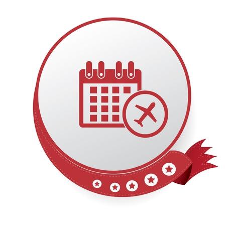 flight steward: Airplane Calendar symbol,White background
