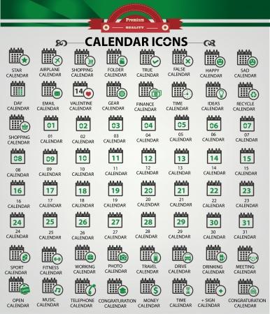 Calendar icons,green version Stock Vector - 20761794
