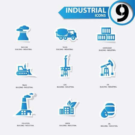 Industrial icons,Blue version Vector