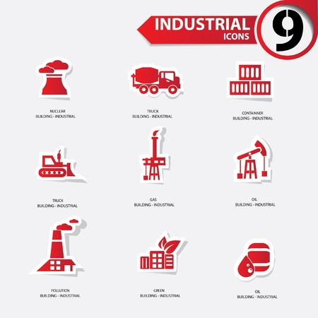 Industrial icons,Red version Stock Vector - 20810676
