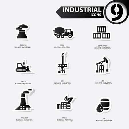 Industrial icons,Black version Stock Vector - 20810677