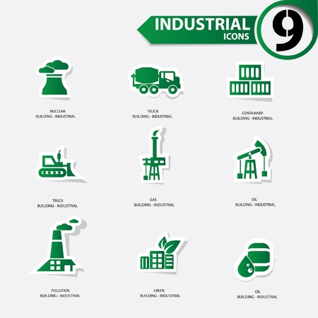 Industrial icons,Green version Vector