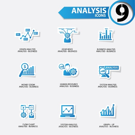 valuables: Business analysis icons,Blue version