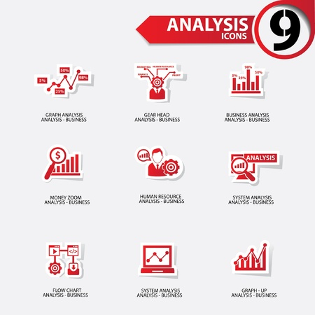 Business analysis icons,Red version