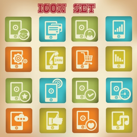 Mobile phone icons,vintage style Stock Vector - 20761825