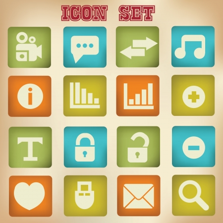 Web icons,vintage style Stock Vector - 20761820