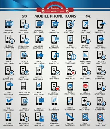 komunikacja: Smart phone, Komunikacja, ikony technologiczne wersja Blueicon, wektor Ilustracja