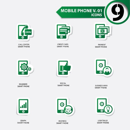 Mobile phone icons set 1,Green version Stock Vector - 20699178