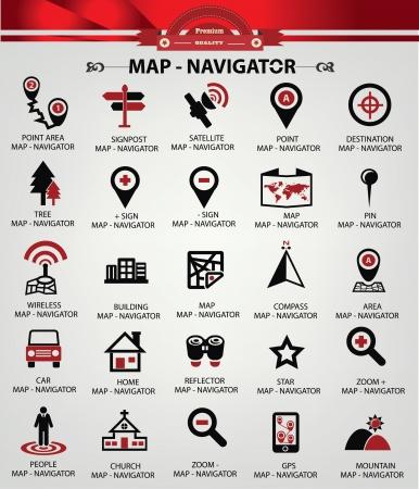 elhelyezkedés: Navigator ikonok, piros változat, vektoros Illusztráció