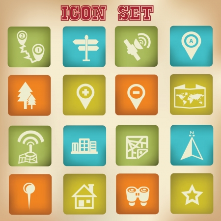 Map and Navigator vintage icons,vector Vetores