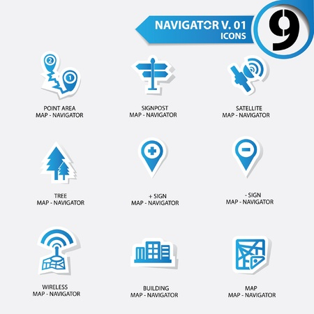zoom earth: Map and Navigator icons set 1,Blue version