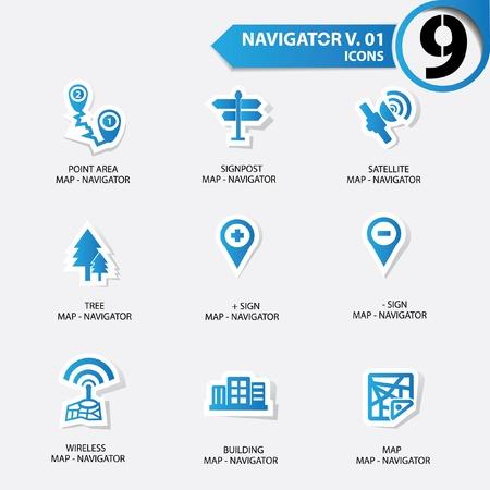 kompas: Mapa a Navigator ikony set 1, modrá verze Ilustrace