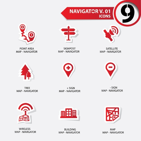 navigator: Map and Navigator icons set 1,Red version