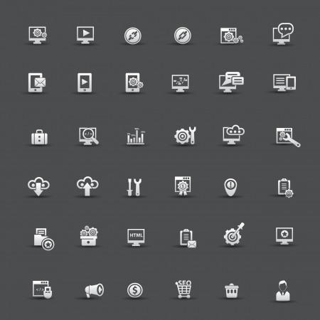 seo: SEO pictogrammen Stock Illustratie