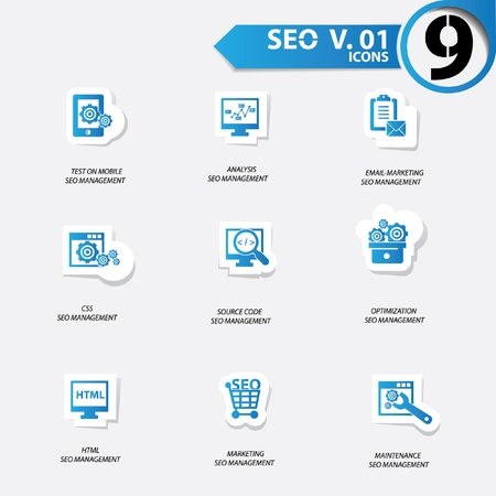 SEO icons set 1,Blue version vector Stock Vector - 20699256