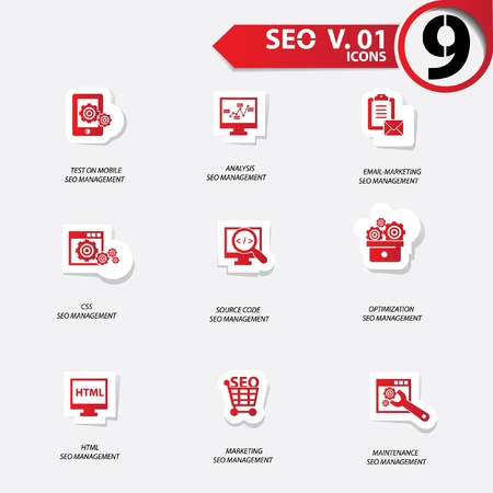 article marketing: SEO icons set 1,Red version vector