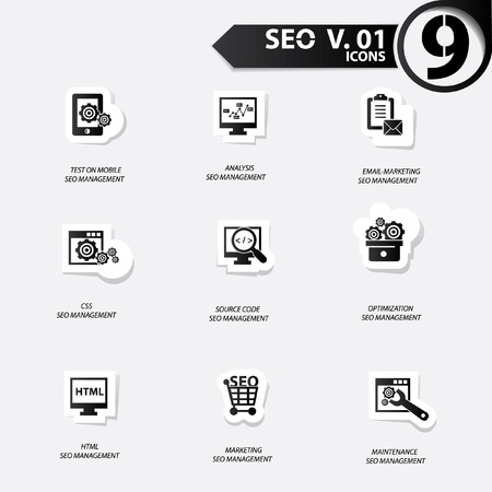 SEO icons set 1,Black version vector Vector