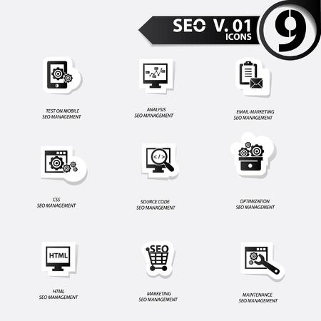 SEO icons set 1,Black version vector Stock Vector - 20699258