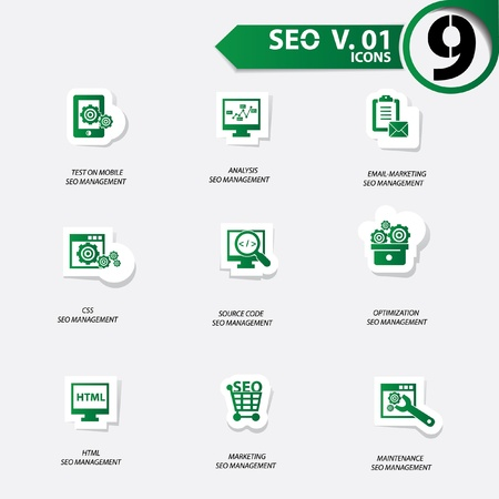 SEO icons set 1,Green version vector Vector