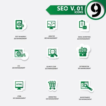 SEO icons set 1,Green version vector Stock Vector - 20699260