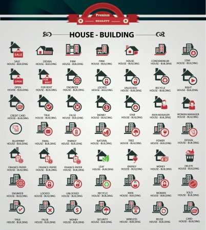 House icons,Red version Stock Vector - 20810769