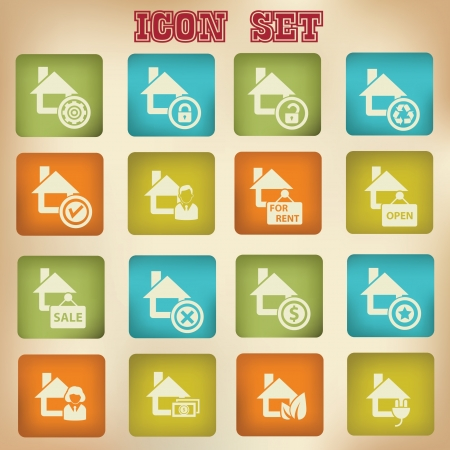 House vintage icons Stock Vector - 20810664