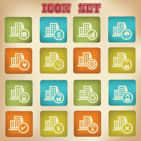 Building, house vintage icons Stock Vector - 20836110