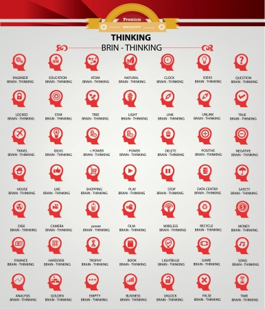 Brain thinking icons,Red version Stock Vector - 20810781