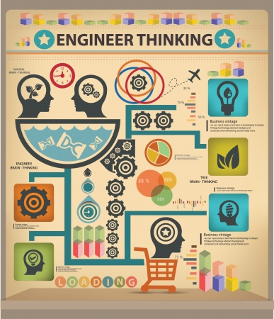 an engineer: Engineer thinking information graphics design Illustration