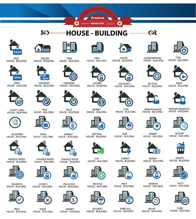 House icons,Blue version version Vector