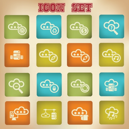 Cloud computing vintage icons,Set 1 Stock Vector - 20836133
