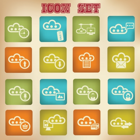 Cloud computing vintage icons,Set 3 Stock Vector - 20836134