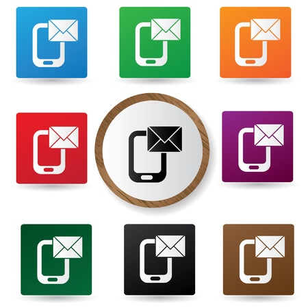 Email,Mobile phone symbol,Colorful buttons Vector