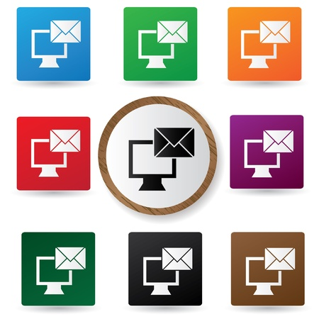 Email on Computer symbol,Colorful buttons Stock Vector - 20836146