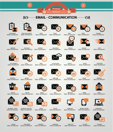 Email icons,Orange version Vector
