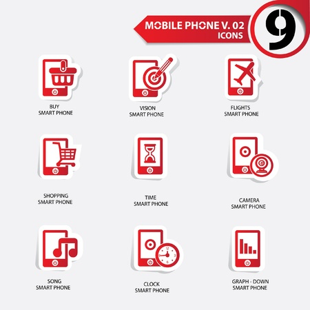 Mobile phone icons,Red version Stock Vector - 20836154
