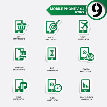 Mobile phone icons,Green version Stock Vector - 20836155