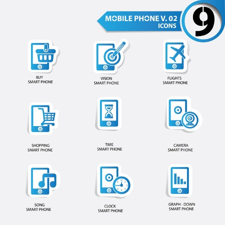 Mobile phone icons,Blue version Stock Vector - 20836157