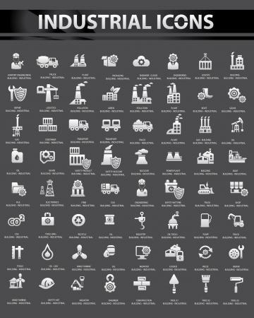 Icon set Industrial, Negro versión de fondo Ilustración de vector