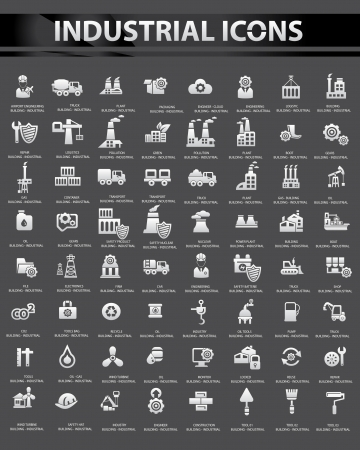 oil and gas industry: Industrial icon set,Black background version