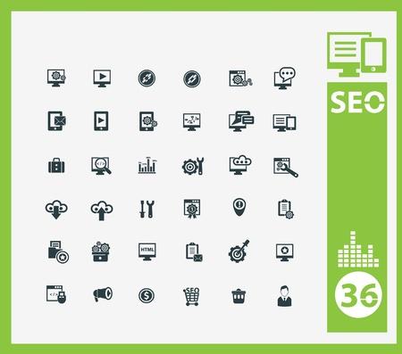 estuche: Icon SEO establece Vectores