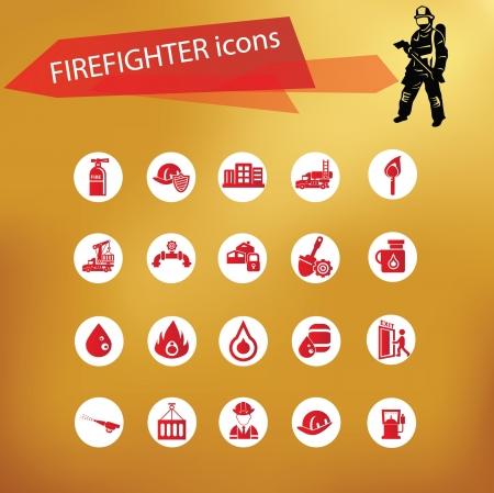 firefighter uniform: Fire icon set,vector