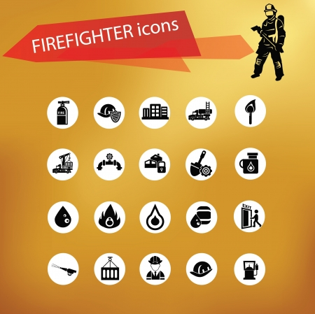Fireman icon set,vector Vector
