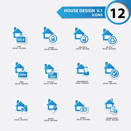 House icons,Blue version Vector