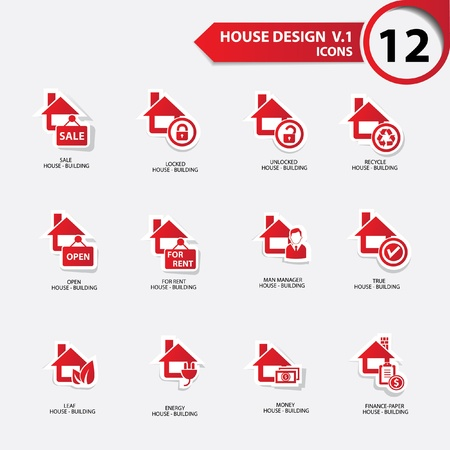 House icons,Red version Stock Vector - 21126103