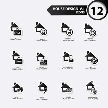 House icons,Black version Stock Vector - 21126104