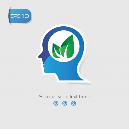 Leaf Brain Thinking symbol,vector Vector