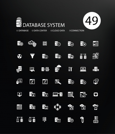 entering information: Database system and Data security icons,vector Illustration