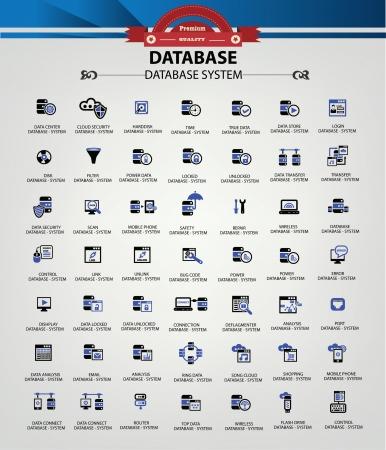 databank: Database-systeem, Datacenter, Beveiliging van gegevens pictogrammen, Blue-versie, vector Stock Illustratie