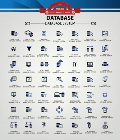network server: Database system,Data center,Data security icons,Blue version,vector